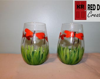 Painted Dragonfly Stemless Wine Glasses
