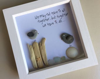 Pebble Bird Framed Picture, Driftwood, Sea Glass, Personalised