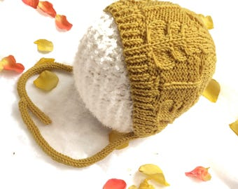 Mustard Yellow Knit Hat Mustard Baby Hat Gender Neutral Toddler Child Bonnet 3-6 month old Mustard Baby Bonnet Size newborn to age 4