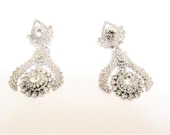 Silver and White Rhinestone Earrings