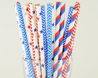 Red/ Blue/ White Mix Paper Straws - Striped/ Chevron/ Stars - Party Decor Supply - Cake Pop Sticks - Party Favor
