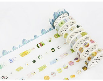 Set of 6 Rolls Japanese Design Washi Tape - 15mm x 7m - Gift Wrapping - Decorative Tape - Scrapbooking Sticker