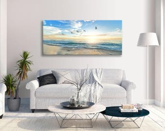 Seascape Sunset Blue Yellow Birds Beach Panoramic Canvas Wall Art Print Home Decor