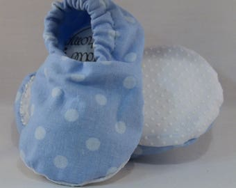 "4.5"" Soft-Soled Baby Shoes - Baby Blue Polka Dots - Adjustable Ankles - Non-Slip Soles"