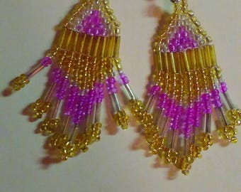 Gold, silver, and pink beaded earrings
