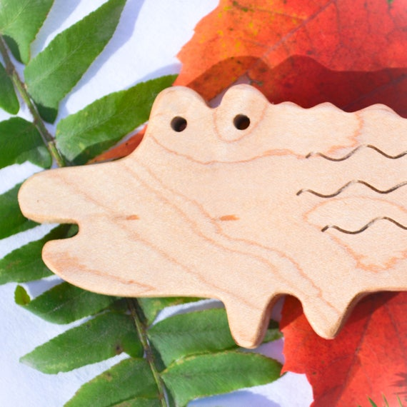Natural wooden teething toy personalized baby gift alligator like this item negle Image collections