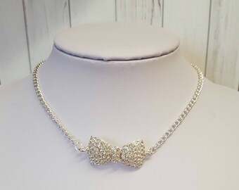 Rhinestone necklace, bow necklace, statement necklace