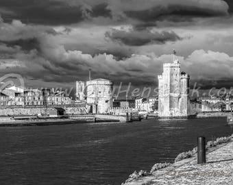 La Rochelle, La Rochelle Print, La Rochelle Wall Art, La Rochelle, Travel Photography, Architecture, boat, Dark sky
