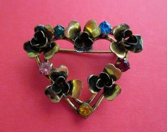 Vintage Heart and Flower Pin - Austria - Rhinestones Multicolored