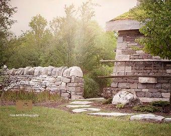 Stone House Digital backdrop, Stone House digital background, Garden background, Garden backdrop, Summer backdrop background