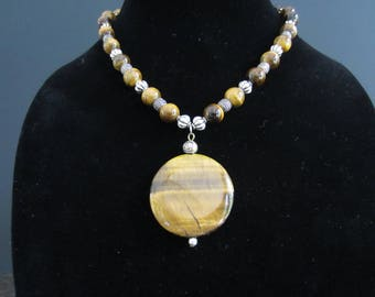 Tigers eye pendant necklace with matching bracelet