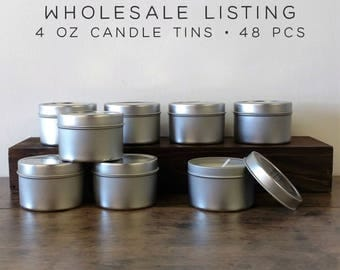WHOLESALE CANDLES | 48 pcs | 4 oz Soy Candle Tins, Soy Wax Candles, Scented Candles, Natural Candles, Bulk Candles, Modern Farmhouse Decor