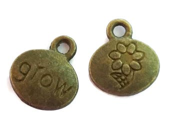 20 Antiqued Bronze GROW Charms 12 x 10mm  Inspirational Word