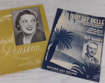 Vintage 1939 sheet music scores France vintage old music scores