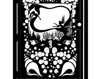 Decorative Steel Ocean Gate - Handcrafted Underwater Mermaid Wall Panel - Under the Sea Metal Wall Art - Driveway Gate - Entryway Gate Art