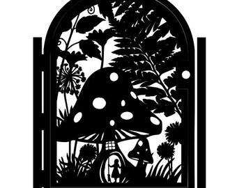 Metal Art Gate - Decorative Steel - Fairy Garden - Mushroom House Gate - Wilderness Gate - Forest Gate - Whimsical Forest Steel Art Panel