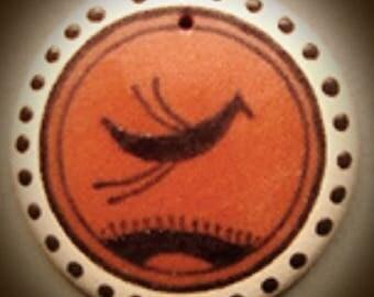 Amulet, Talisman, Ceramic medallion, Necklace, Folk art,  jewelry, Pendant Jewellery, gift, Jewellery, Unisex gift, Clay medallion, pottery