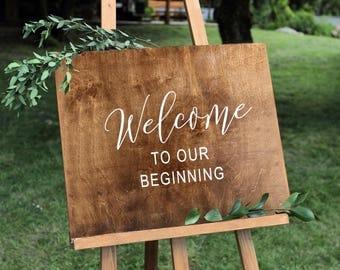 Wedding Welcome Sign - Rustic Wood Wedding Sign, Custom Wood Sign, Engagement Gift, Wedding Gift, Anniversary Gift