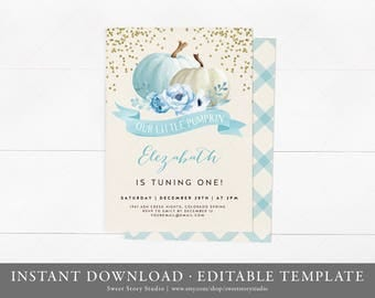 Watercolor Pumpkin Birthday Invitation Card - Editable - Fall Baby Shower Invite - A Little Pumpkin