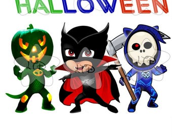PJ MASKS Happy Halloween Iron On Transfer