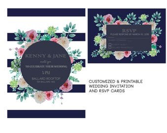 Navy Floral Wedding Invitation | Personalized and Printable | Summer Wedding
