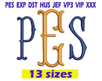 FishTail Monogram Embroidery / FishTail Monogram embroidery design/ INSTANT download