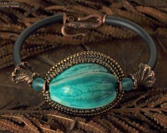 Blue Bracelet Bangle Big Statement Boho Polymer Clay Beaded Botanical Tribal Rubber Physalis Bracelet Chinese lantern Gift Wife Sister