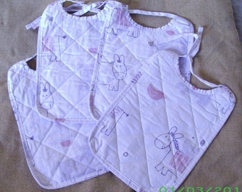 Rectangular bib for baby cloth meal quilted