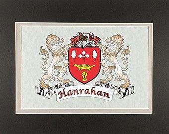 "Hanrahan Irish Coat of Arms Print - Frameable 9"" x 12"""
