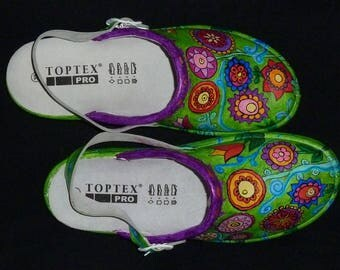 "Hand painted clogs ""Flower meadow"" in Gr. 39"