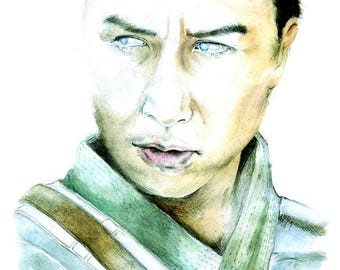 Chirrut Imwe Watercolour Portrait Art Print
