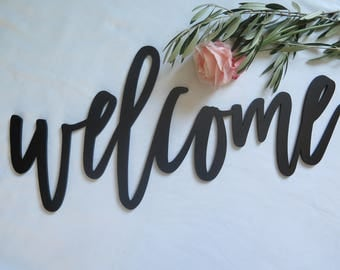 """24"""" Inch 'welcome' Laser Cut Wood Sign//Backdrop/Wedding/Home/For any Event"""