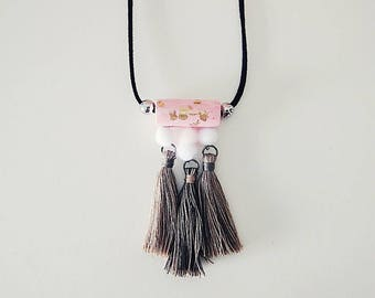 Rose and smoke tassel necklace