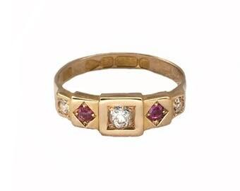Victorian Ruby and Diamond Five Stone Ring, English, Circa 1881