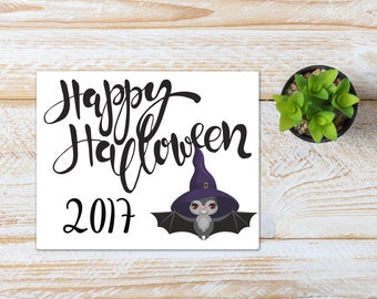 Halloween Printable / Happy Halloween 2017 Bat / Ready to Print Digital Download / Size 8x10 300 DPI / Halloween Wall Art and Printable