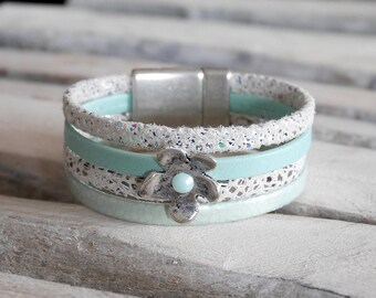 Sea green, white and silver leather with loop (BR54) flower Cuff Bracelet