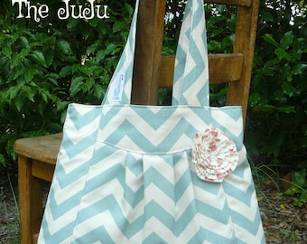 Dusty blue chevron purse with pink lining and rosette, The JuJu