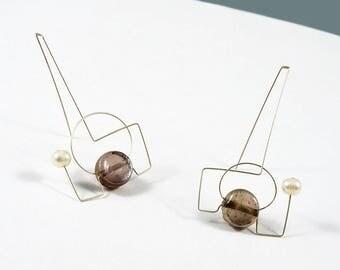 Gemstone jewelry, Stone earrings, Pearls earrings, Metal earrings, Bronze earrings, Minimalist earrings, Gemstones earrings, Brown earrings