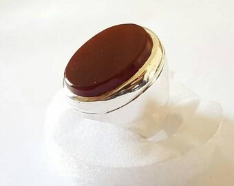 Yemeni Aqeeq Ring Blood Black Red Agate Ring Akik Agate Aqeeq 925 Sterling Silver Ring islamic Ring Real agate Ring For Men Shia Aqeeq Rings