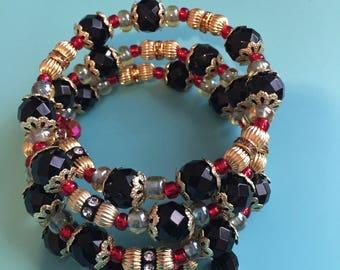 Beaded Wrap Bracelet / Memory Wire Bracelet / Christmas Bracelet / Crystal Bracelet /Statement Bracelet / Women's Bracelet / Gift For Her /