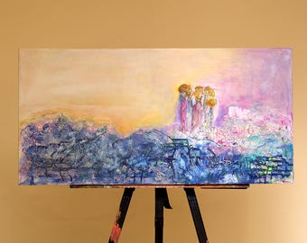 Original, 15x30, textured acrylic on gallery canvas, contemporary Abstract figures