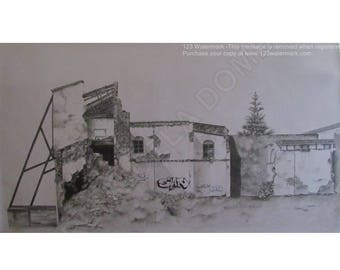 Urban Ruins Original handpainted Graphite Pencil & Coloured Pencils Artwork