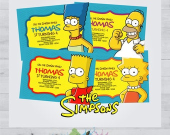 The Simpsons (4-Pack) Invitation - The Simpsons Card - Invite - The Simpsons Birthday Party - Printable - The Simpsons Customized - Special