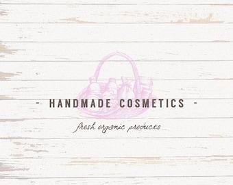 Handmade cosmetics logo - Cosmetics logo - HAND DRAWN - Custom logo - Vintage - Shabby chic
