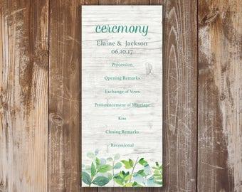 Printable Wedding Program- Elaine Collection
