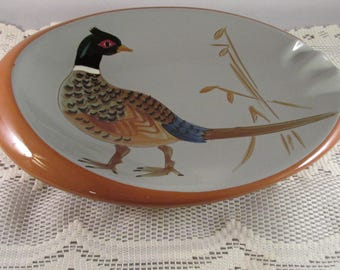 STANGLE ART POTTERY Pheasant Ash Dish 1950's vg Condition