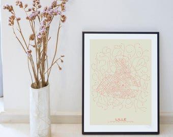 Poster Design Lille - Plan minimalist 30x40cm