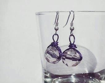 Gray and Purple Wire Earrings #019