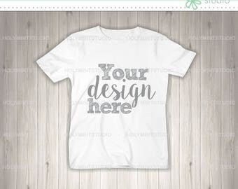 T- Shirt Mockup, Shirt Template, Children T-Shirt Mockup, Wood Background, Digital Background, Custom Design Background, White Shirt, Mockup