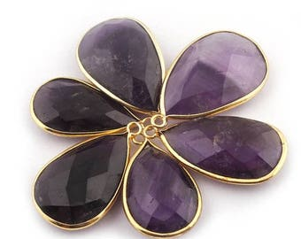 50% off 6 Pcs 24K Gold Plated Amethyst Gemstone Faceted Pear Drop Shape Single Bail Pendant 27mmx16mm-31mmx19mm PC015
